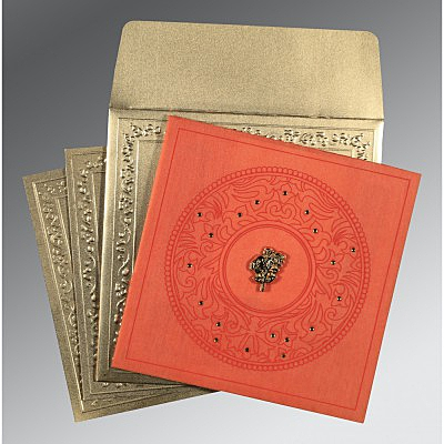 Orange Wooly Screen Printed Wedding Card : AC-8214C - IndianWeddingCards