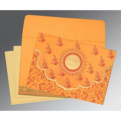 Orange Wooly Screen Printed Wedding Invitation : AD-8207J - IndianWeddingCards