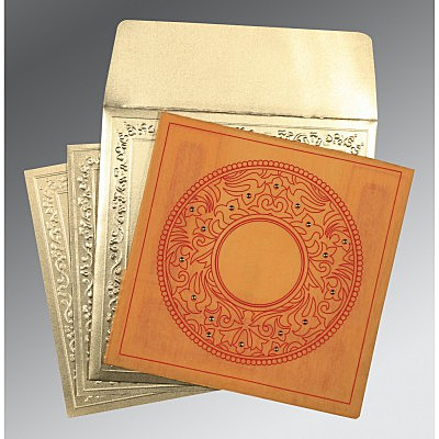 Orange Wooly Screen Printed Wedding Card : AD-8214H - IndianWeddingCards