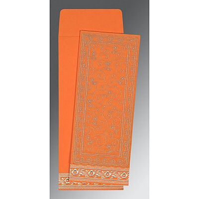 Orange Wooly Screen Printed Wedding Invitation : AD-8220F - IndianWeddingCards