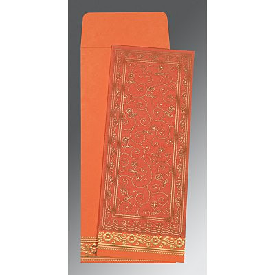 Orange Wooly Screen Printed Wedding Invitation : AD-8220N - IndianWeddingCards