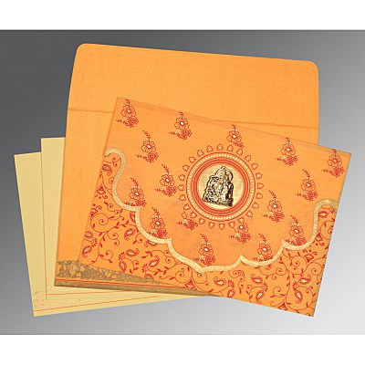 Orange Wooly Screen Printed Wedding Invitations : AG-8207J - A2zWeddingCards