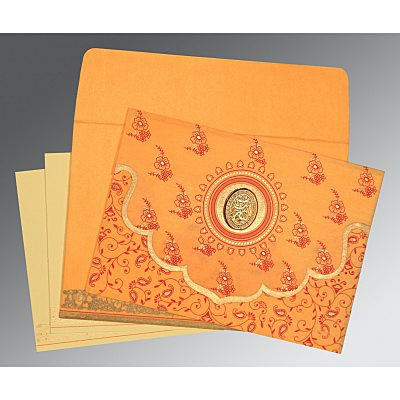 Orange Wooly Screen Printed Wedding Invitation : AI-8207J - IndianWeddingCards