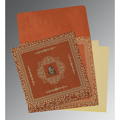 Orange Wooly Screen Printed Wedding Card : AIN-1050