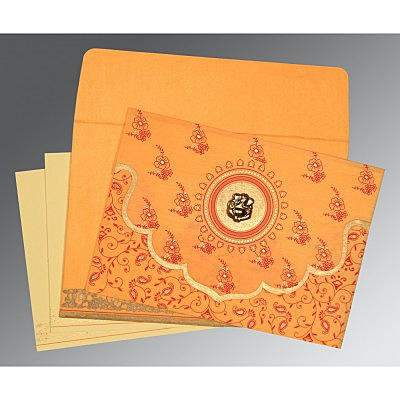Orange Wooly Screen Printed Wedding Invitation : AIN-8207J - IndianWeddingCards