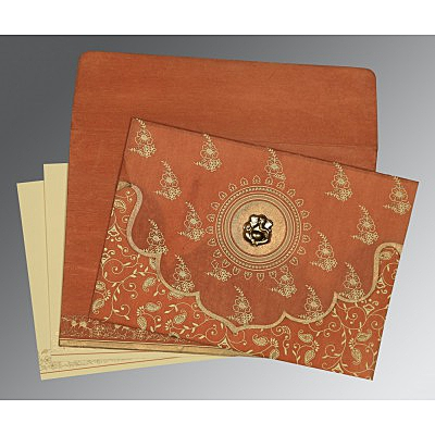 Orange Wooly Screen Printed Wedding Invitation : AIN-8207N - IndianWeddingCards