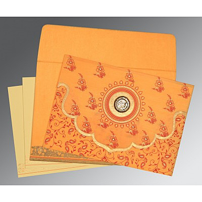 Orange Wooly Screen Printed Wedding Invitation : ARU-8207J - IndianWeddingCards