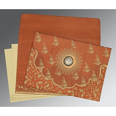 Orange Wooly Screen Printed Wedding Invitation : ARU-8207N - IndianWeddingCards