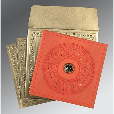 Orange Wooly Screen Printed Wedding Card : ARU-8214C - IndianWeddingCards