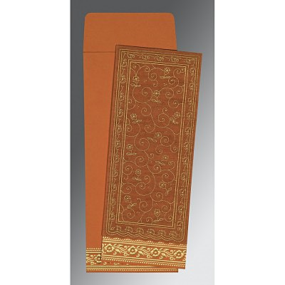 Orange Wooly Screen Printed Wedding Invitation : ARU-8220C - IndianWeddingCards