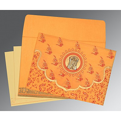 Orange Wooly Screen Printed Wedding Invitation : ASO-8207J - IndianWeddingCards