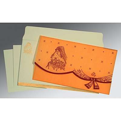 Orange Wooly Unique Themed - Screen Printed Wedding Invitation : AD-8204B - A2zWeddingCards