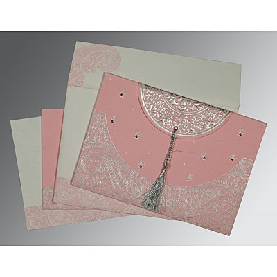 Pink Handmade Cotton Embossed Wedding Card : AIN-8234G - IndianWeddingCards