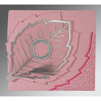 Pink Handmade Cotton Floral Themed - Foil Stamped Wedding Card : ARU-8219K - IndianWeddingCards