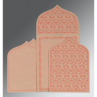 Pink Handmade Silk Paisley Themed - Glitter Wedding Invitation : AIN-8208F - IndianWeddingCards