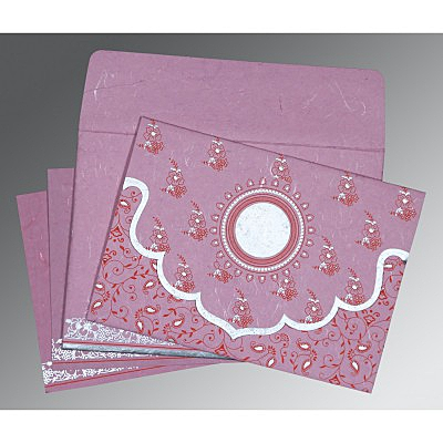 Pink Handmade Silk Screen Printed Wedding Invitation : AD-8207K - IndianWeddingCards