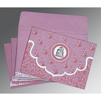 Pink Handmade Silk Screen Printed Wedding Invitation : AG-8207K - IndianWeddingCards