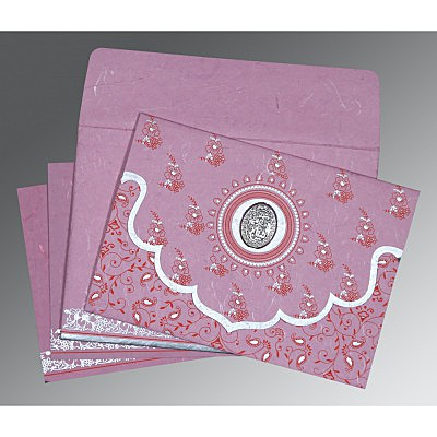 Pink Handmade Silk Screen Printed Wedding Invitation : AI-8207K - IndianWeddingCards