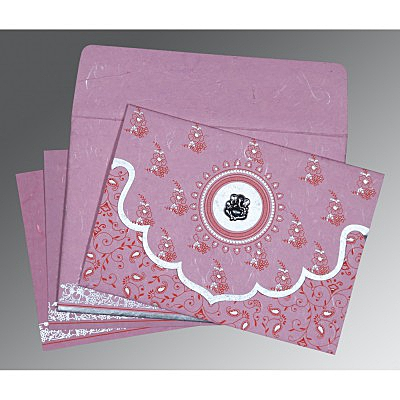 Pink Handmade Silk Screen Printed Wedding Invitation : AIN-8207K - IndianWeddingCards