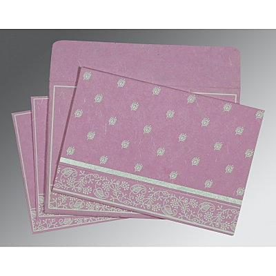 Pink Handmade Silk Screen Printed Wedding Invitations : ARU-8215J - A2zWeddingCards