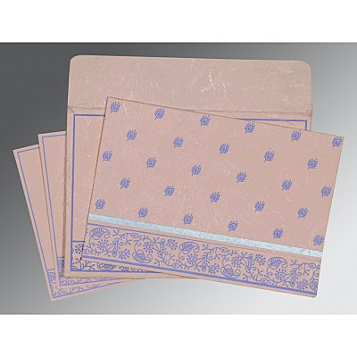 Pink Handmade Silk Screen Printed Wedding Card : ARU-8215M - IndianWeddingCards