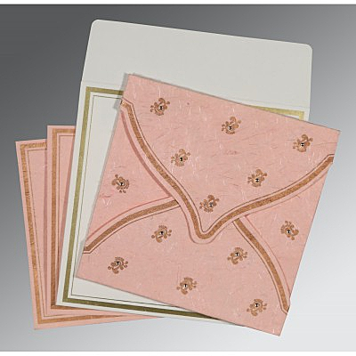 Pink Handmade Silk Unique Themed - Screen Printed Wedding Card : AI-8203E - IndianWeddingCards