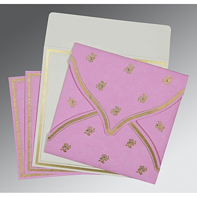 Pink Handmade Silk Unique Themed - Screen Printed Wedding Card : ASO-8203H - IndianWeddingCards
