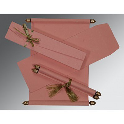 Pink Handmade Silk Wedding Card : ASC-5001N - IndianWeddingCards
