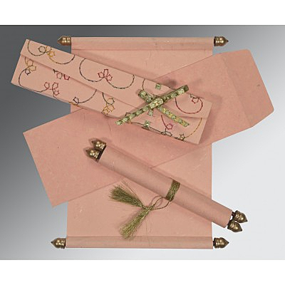 Pink Handmade Silk Wedding Card : ASC-5002H - A2zWeddingCards