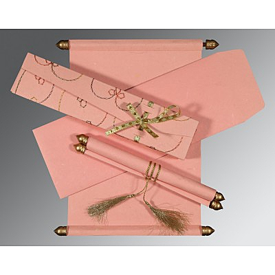 Pink Handmade Silk Wedding Card : ASC-5002M - IndianWeddingCards