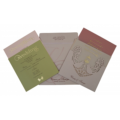 Pink Matte Laser Cut Wedding Invitation : AIN-1800