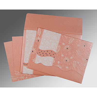 Pink Shimmery Floral Themed - Embossed Wedding Invitation : AI-8236A - IndianWeddingCards