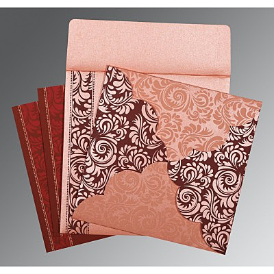 Pink Shimmery Floral Themed - Screen Printed Wedding Card : AG-8235D - IndianWeddingCards
