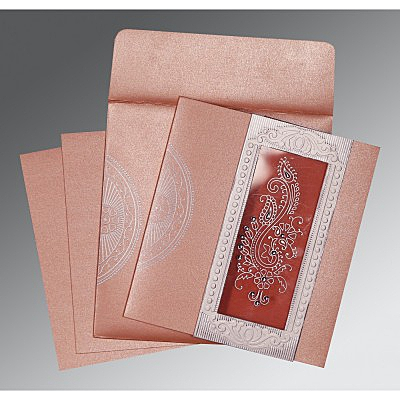 Pink Shimmery Paisley Themed - Foil Stamped Wedding Invitation : AC-8230A - IndianWeddingCards