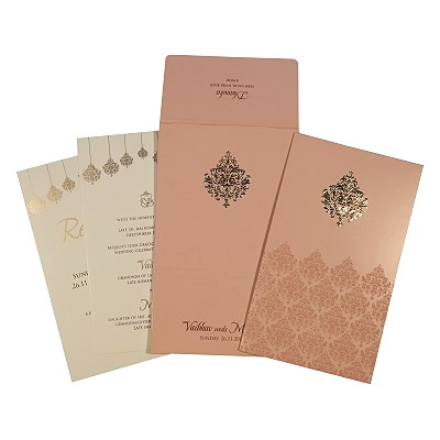 Pink Shimmery Paisley Themed - Screen Printed Wedding Card : ARU-1746 - A2zWeddingCards