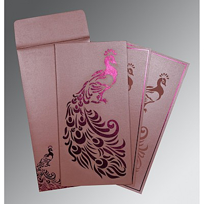 Pink Shimmery Peacock Themed - Laser Cut Wedding Invitation : AW-8255B - IndianWeddingCards