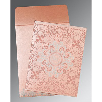 Pink Shimmery Screen Printed Wedding Card : AG-8244A - IndianWeddingCards