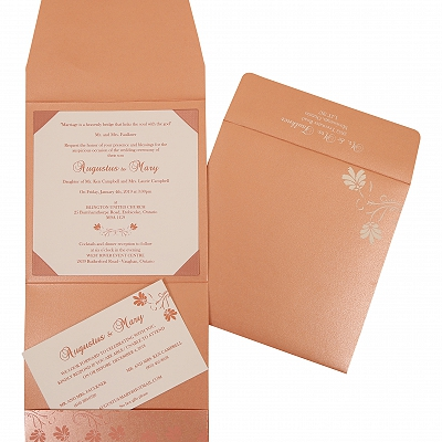 Pink Shimmery Screen Printed Wedding Invitation : AIN-803C