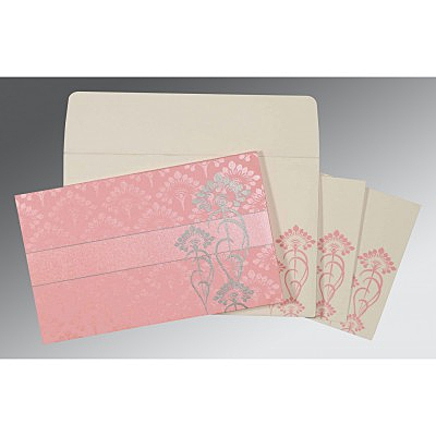 Pink Shimmery Screen Printed Wedding Card : ARU-8239J - IndianWeddingCards