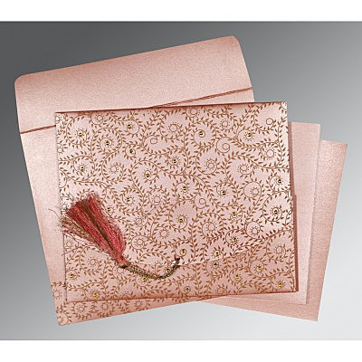 Pink Shimmery Screen Printed Wedding Invitation : AS-8217N - IndianWeddingCards