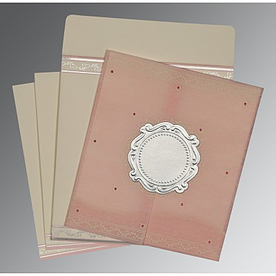 Pink Wooly Embossed Wedding Invitation : AD-8202P - IndianWeddingCards