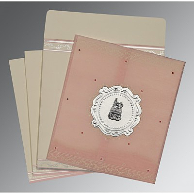 Pink Wooly Embossed Wedding Invitations : AI-8202P - A2zWeddingCards