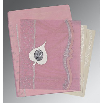 Pink Wooly Embossed Wedding Card : AI-8210B - IndianWeddingCards