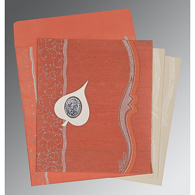 Pink Wooly Embossed Wedding Card : AI-8210M - IndianWeddingCards