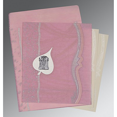 Pink Wooly Embossed Wedding Card : ASO-8210B - IndianWeddingCards