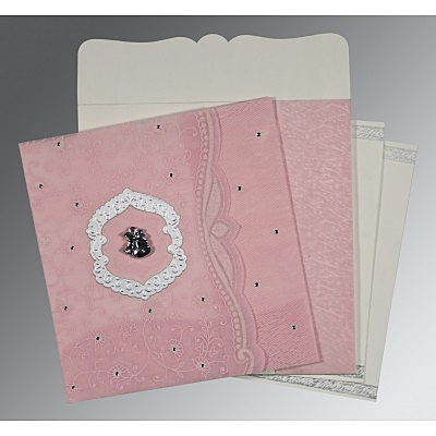 Pink Wooly Floral Themed - Embossed Wedding Card : AC-8209H - IndianWeddingCards