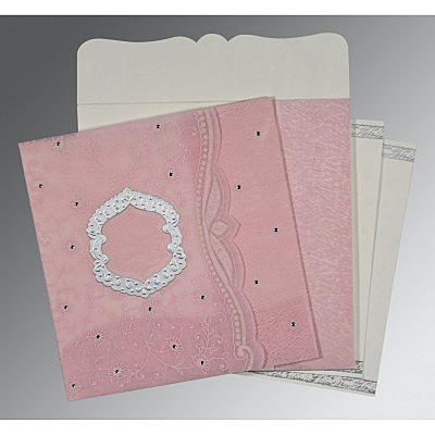 Pink Wooly Floral Themed - Embossed Wedding Card : AD-8209H - IndianWeddingCards