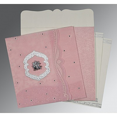 Pink Wooly Floral Themed - Embossed Wedding Card : AG-8209H - IndianWeddingCards