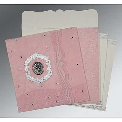 Pink Wooly Floral Themed - Embossed Wedding Card : AI-8209H - IndianWeddingCards