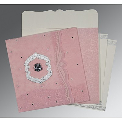 Pink Wooly Floral Themed - Embossed Wedding Card : AIN-8209H - IndianWeddingCards